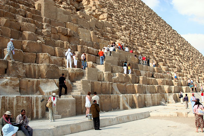 Giza Pyramids - Great Pyramid of Khufu, steps up to the lower entrance.