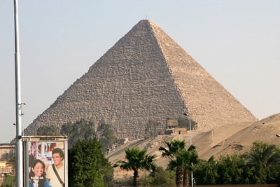 Giza Pyramids - Great Pyramid of Khufu on the edge of the city of Cairo.  This is the view from my hotel (Sofitel le Sphinx Hotel).