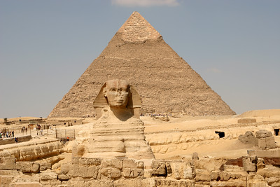 Giza Pyramids - The Sphinx and Pyramid of Khafre.  Beside the Sphinx (left) is the causeway running up to Khafre's Pyramid.