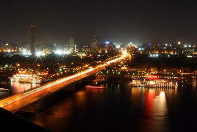Cairo - Same view as the previous photo over the Nile river but at night.