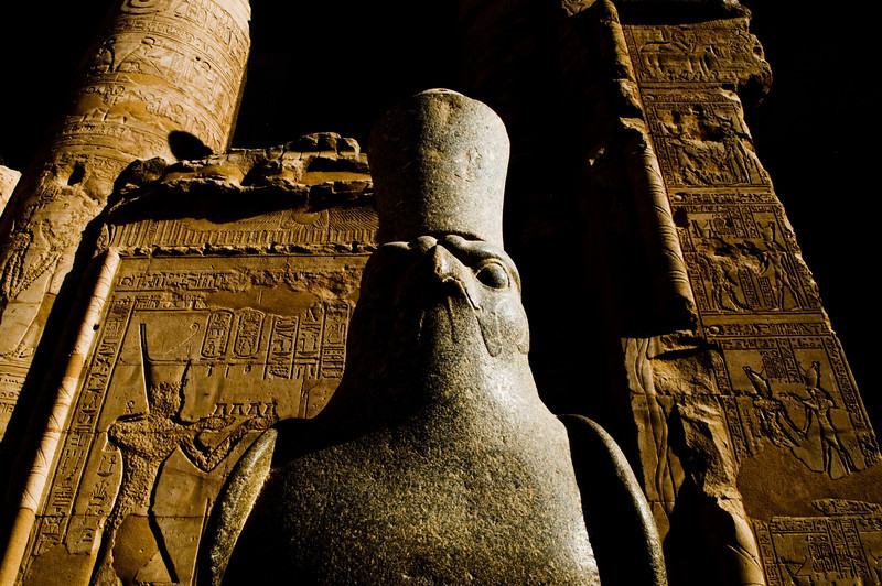 Title: The Mighty Hawk God<br /> Date: October 2009<br /> The great hawk statue of Horus at Edfu.