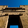 Title: At the Pylon Gates<br /> Date: October 2009<br /> The huge pylon gates at Edfu.