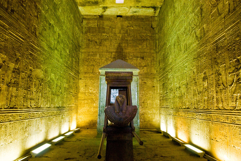 Title: Vessel<br /> Date: October 2009<br /> Inside the Temple to Horus at Edfu.  This is a reconstruction of a ceremonial Egyptian boat in the temple.