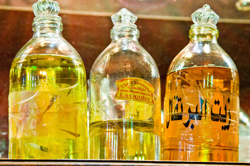 Title: Perfume Bottles<br /> Date: October 2009<br /> Perfume bottles in the Bedouin perfumery shop in Giza.