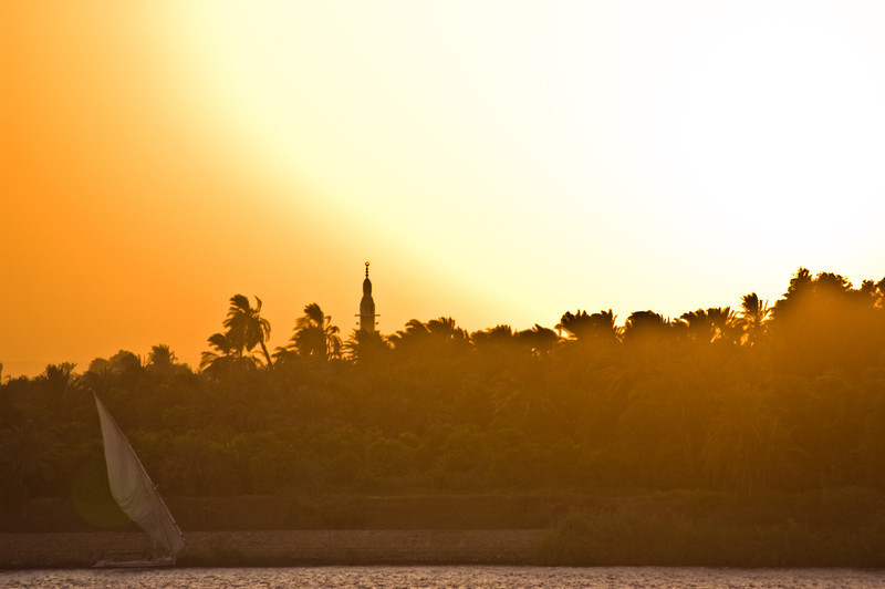 Title: Sailboat Under the Egyptian Sun<br /> Date: October 2009<br /> A boat on the Nile at Kom Ombo.