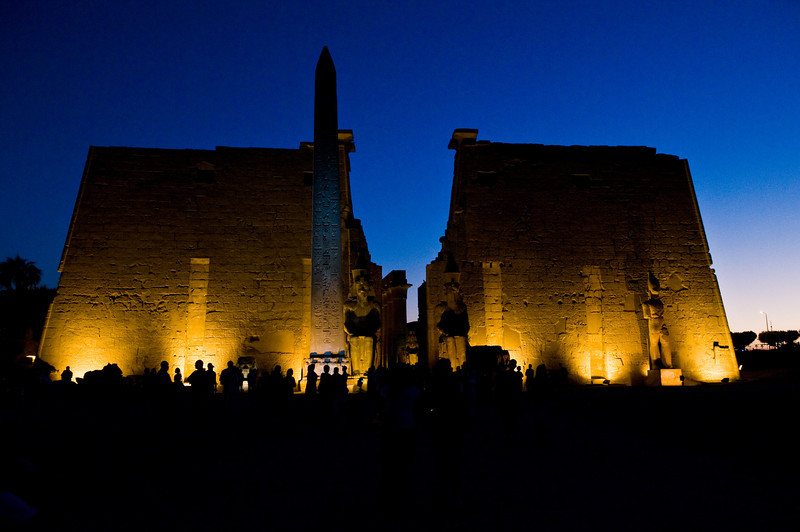 Title: Luxor at Dusk<br /> Date: October 2009<br /> The Luxor Temple at night.