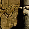 Title: Offering to Mighty Horus<br /> Date: October 2009<br /> The great statue of Horus at Edfu.