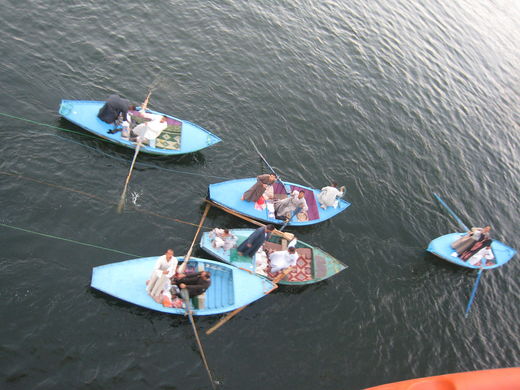 The rowboats that come up to every cruise boat to sell pashminas and galabayas.