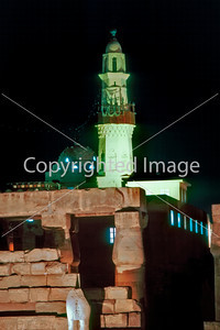 Louxor, Egypt, General View of Louxor Temple Lit Up at Night. Mosque Temple Tower in Back.