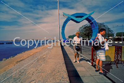 Assouan, Egypt,  Tourists Visiting at High Dam and Nasser Lake.