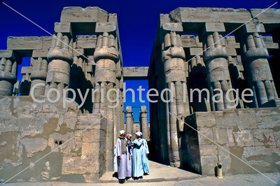 Louxor, Egypt, General View of Louxor Temple With Group of Egyptian Men Talking near the Columns of Thoutmosis III.