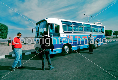 Assouan, Egypt, Egyptian Tourist Bus with Driver at High Dam.
