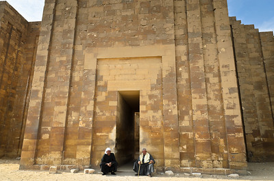 Jan. 12, 2013. Entranceway to the first step pyramid in Egypt. Saqqara.