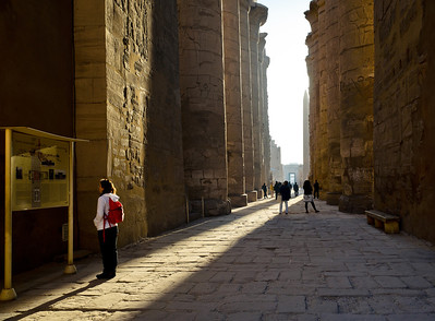 Jan. 14. 2013. Jeannette stands before information at the Karnak Temple Complex near Luxor, Egypt.