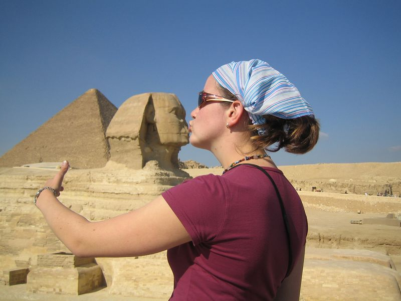 g2) Megan gets amorous with the Sphinx.