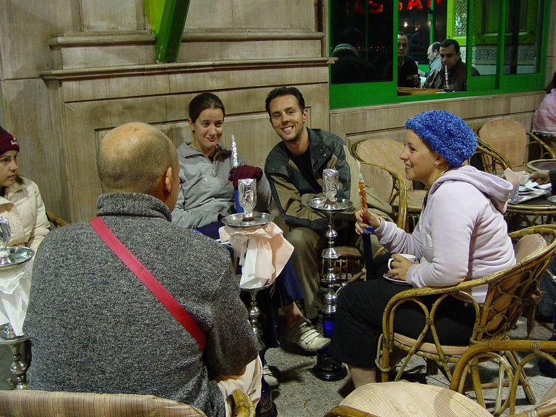 z) Another night at a sheesha bar. This time we get more sheesha's and try different flavors.