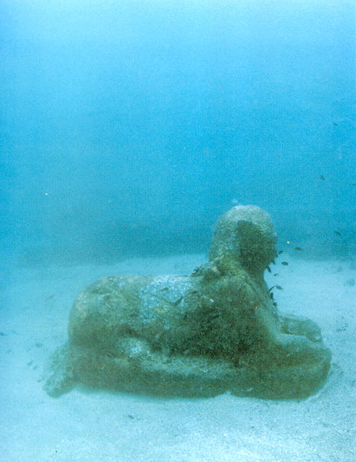 "m) There is only one sphinx with the head still intact. A French archaeology team led by Franck Goddio has been retrieving artifacts and mapping the harbor. <br /> ""The most impressive and beautiful item is a second century AD diorite bust of an unidentified person with long hair, which some believe (could be) the Nile god, Hapy,"" Zahi Hawass, head of the Supreme Council for Antiquities."