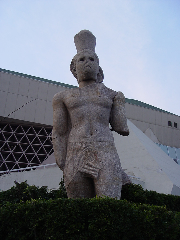 r) At the library, this is one of he statues recovered from the harbor.