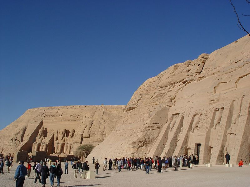 a)  The temples of Abu Simbel near the Sudan border. Abu Simbel lies south of Aswan on the western bank of the Nile, 180 miles south of the First Cataract in what was Nubia.<br /> The temple of Hathor is in the foreground. The Great Temple is in the background.