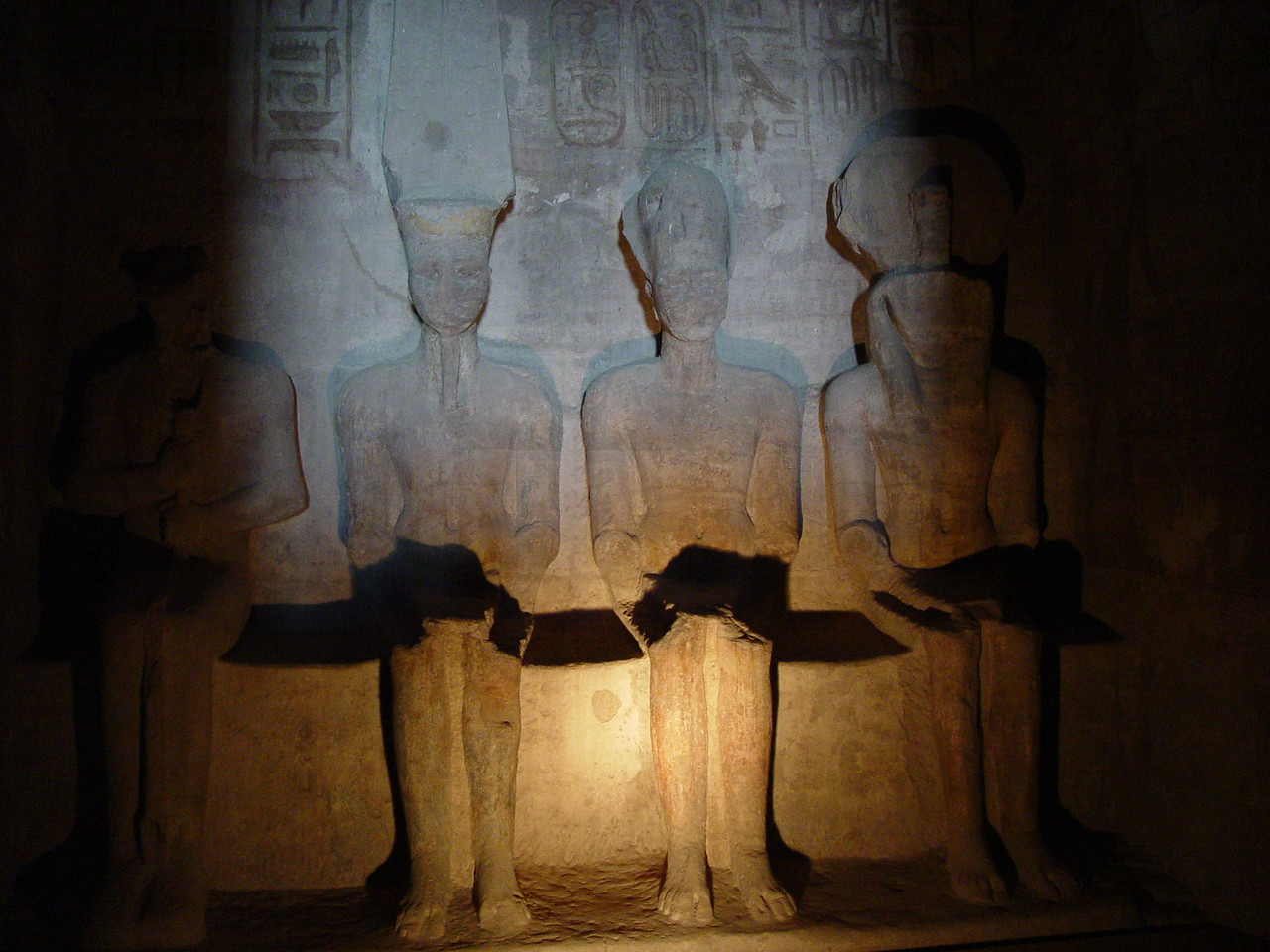 g) The alignment of the temple is such that twice a year the sun's rays illuminate the seated statues of Ptah, Amun-Re, Ramesses II, and Re- Horakhty.