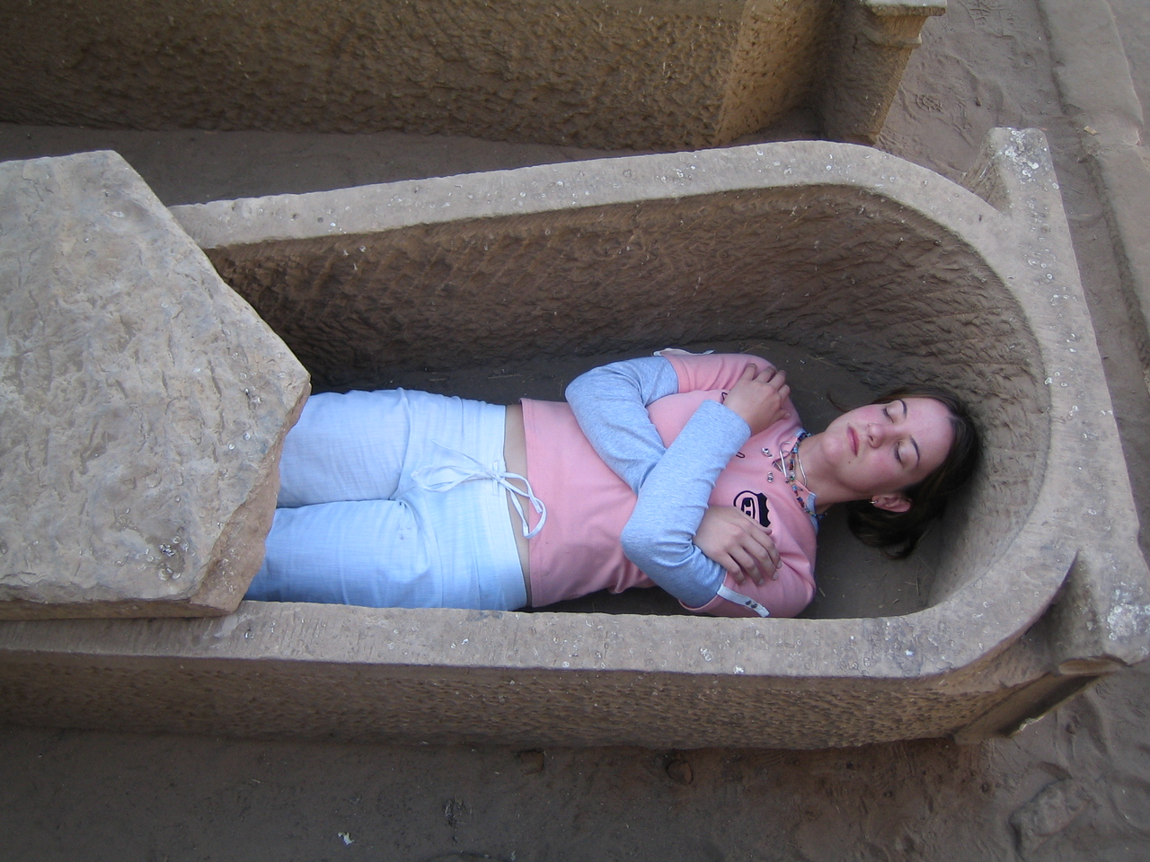 d3) The egyptians reached their peak in mummification techniques.<br /> A mummified Megan.