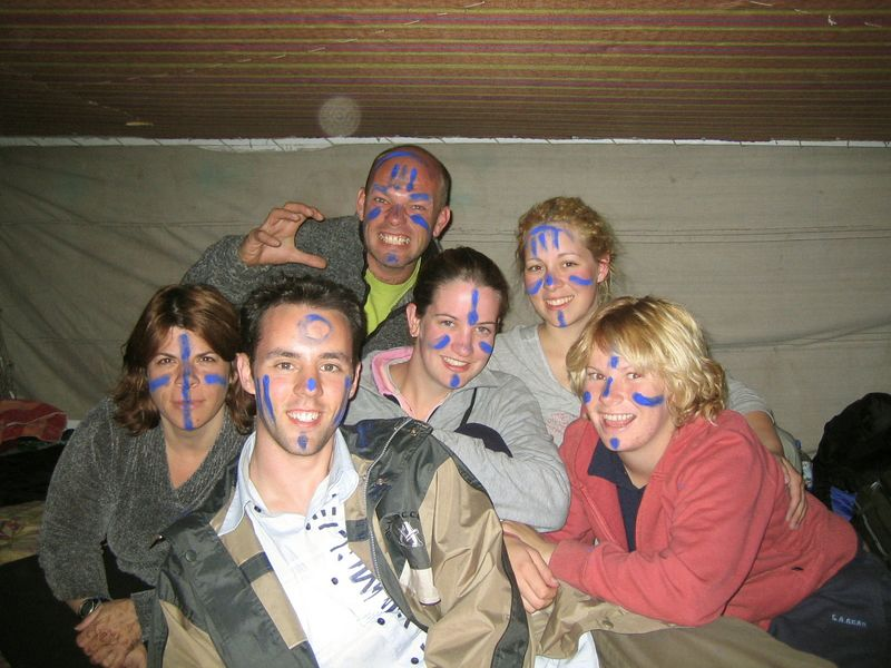 "o4) Here we are on the felucca with our make-up on getting ready for ""tribal night"" on the island. We painted our faces with indigo, a blue powder."