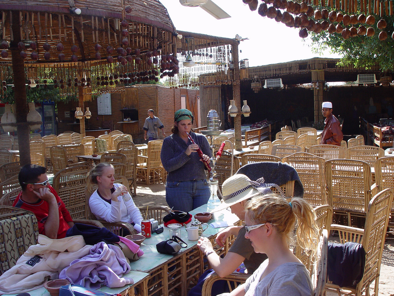 f) At the cafe at Kom Ombo, some of us  try out our first sheesha pipe. It's actually quite pleasant, we had apple flavouring. You get a bit of a head spin.