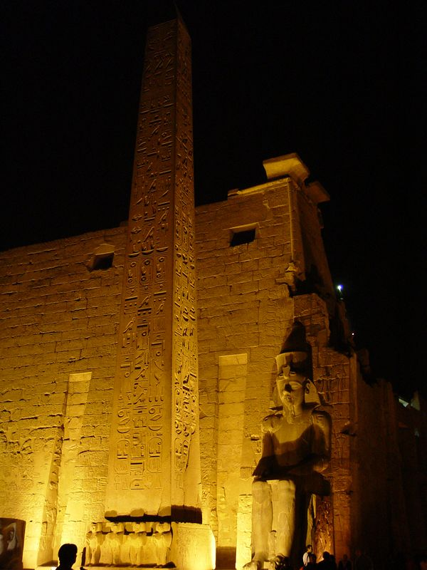 g) At night, only me and Alex visit the Luxor temple. Luxor Temple was dedicated to the great god Amun-Re, his wife Mut and their son Khonsu (the moon god) - together representing the Theban triad. It's ancient name is Ipet resyt which means place of seclusion.