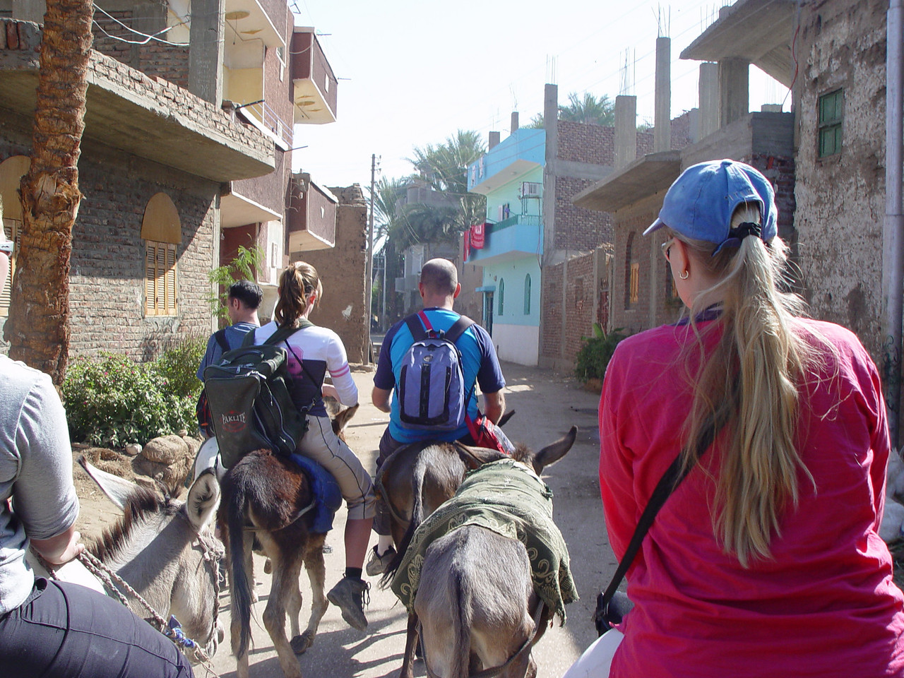 g) we ride through more villages and get off our donkey's when we reach Luxor, then have some lunch.