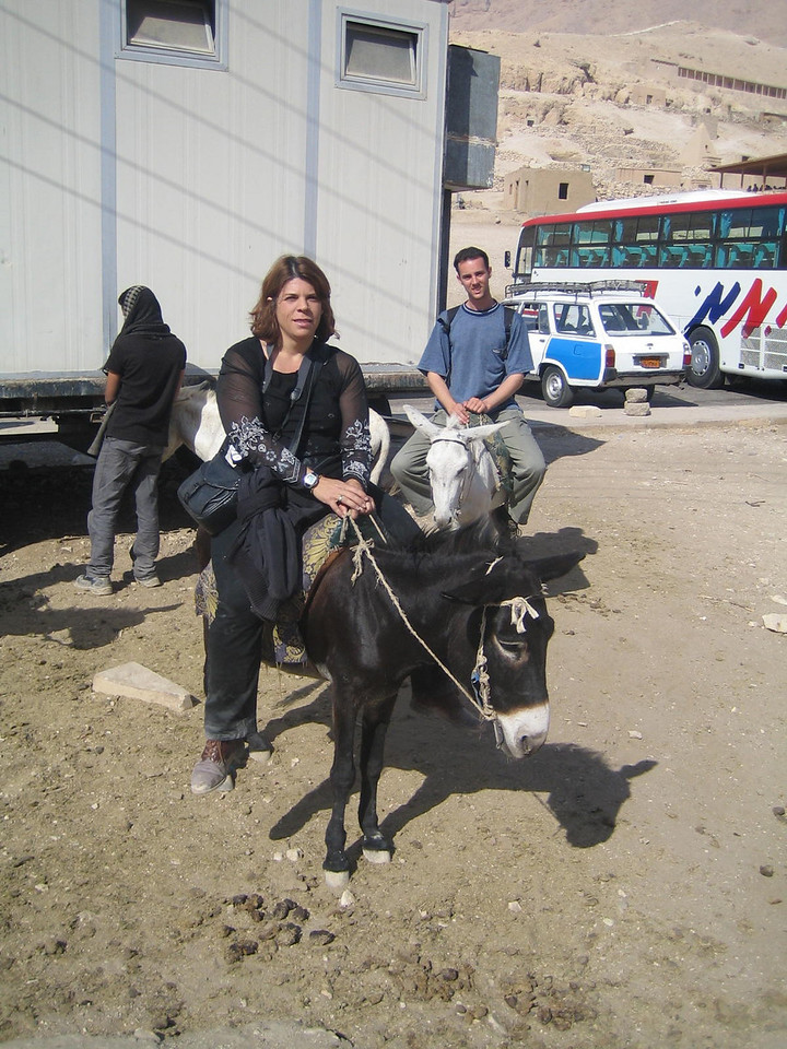 e1) We get back on the donkeys and head back to Luxor.