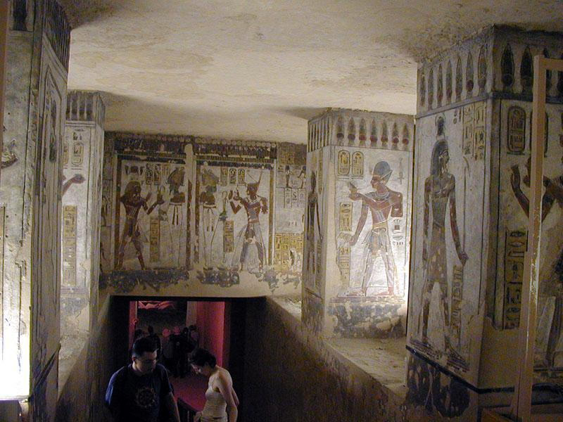 c) We explored the tombs of Ramesses III, V/VI, and IX. Our egyptologist is not allowed inside the tombs, so I read some of the inscriptions to Brett.  Later I pay the extra 70 LE to see Tutankhamuns tomb. His mummy is still present inside a golden sarcophagus in the tomb. Later, our egyptologist tells us about the curse of Tutankhamun and many visitors are afraid to go into his tomb. But I'm cleared because of said some prt-hrw (voice offerings) of Kha apd, k3, ss^, mnkht (a thousand fowl, oxen, alabaster and linen) for the pharoah. By the way Tutankhamun means living image of Amun.
