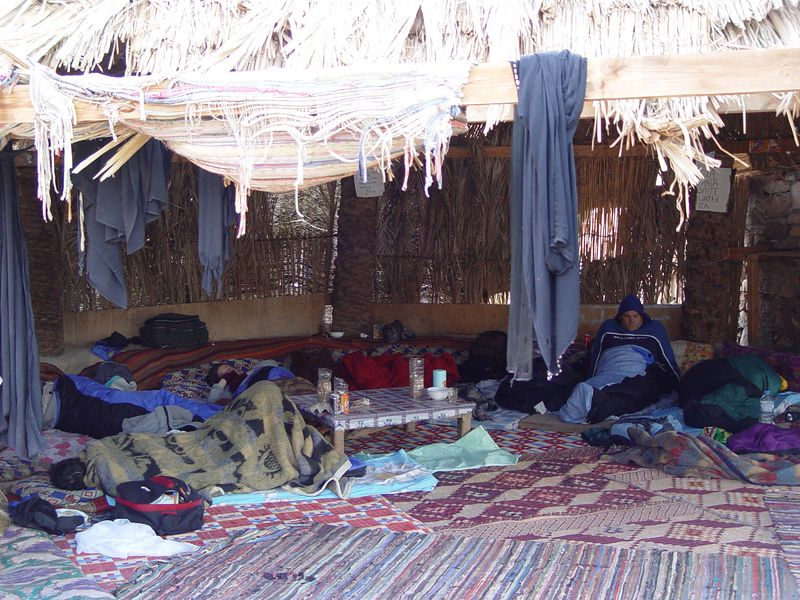 v) This was our sleeping quarters. We played cards half the night by candelight You can see the card table in this photo.