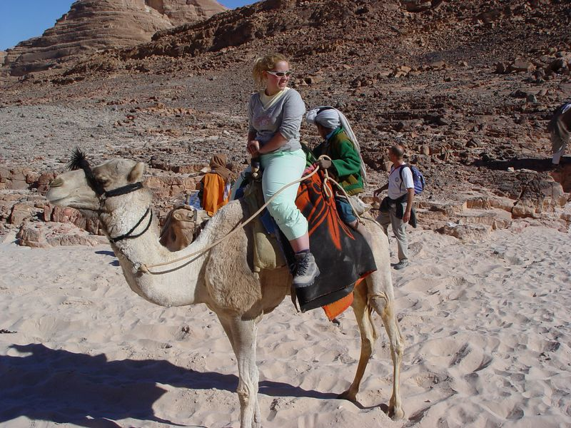 zb) One of the Bedouin kids climbed up the back of Lisa's camel to hitch a ride.