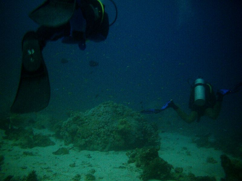 p1) Dive buddy Richard and dive guide Ghandy in the background