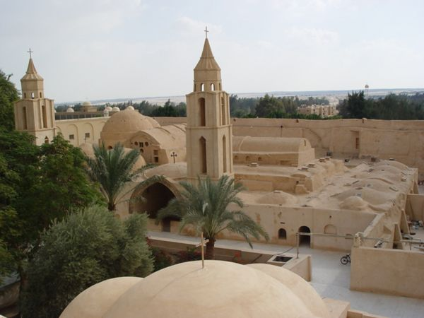 "a1) On the way to Marsa Matrouh from Cairo, we stop at Wadi (means valley) and the word ""Natrun"" comes from the local salt deposits in the valley of Wadi Natrun, used in pharaonic times for embalming mummies. This is the monastery of Anba-Bishoy."