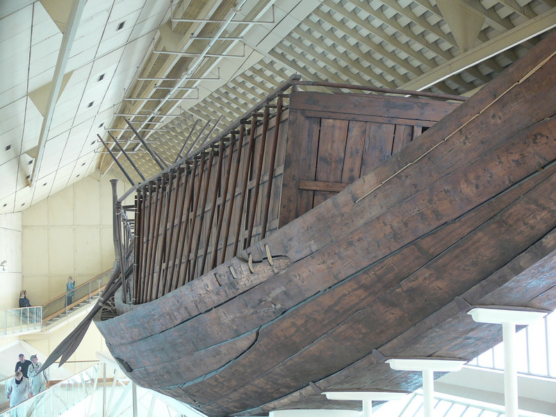 This 4500 year old boat was found in 1954 in a pit next to the Great Pyramid of Cheops. It is one of 5 pits found.