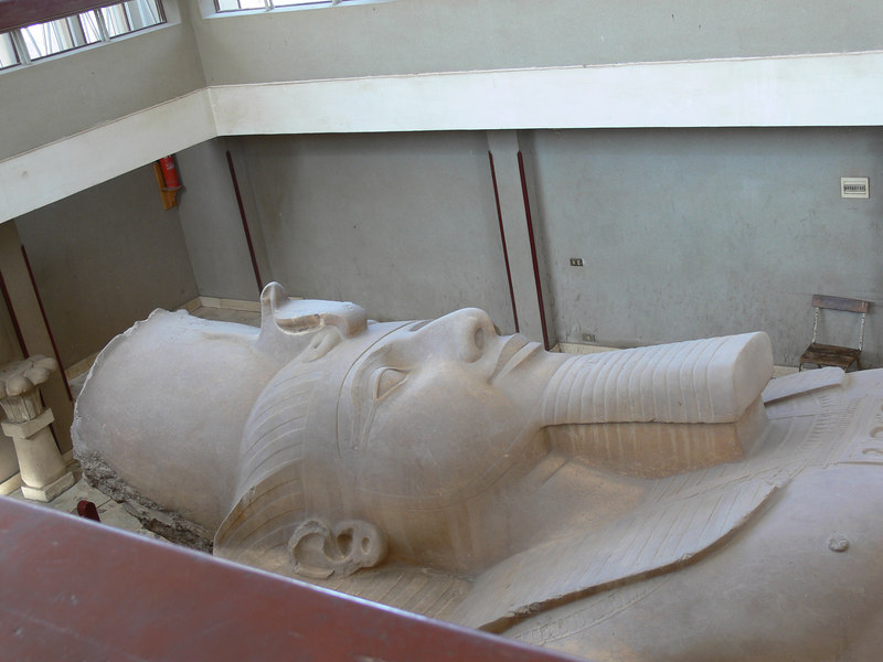A head shot of the Colossus of Ramses II which has a building built over it to protect it from the elements.