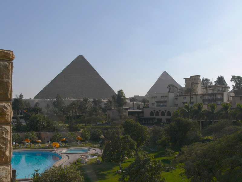 The view of the Giza pyramids from our balcony at the Mena House Hotel.
