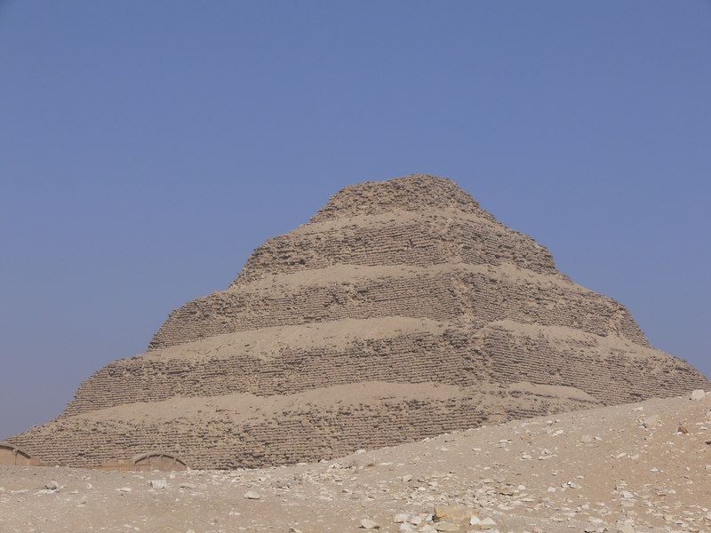The Step Pyramid which was built by Imhotep for King Djoser at Saqqara
