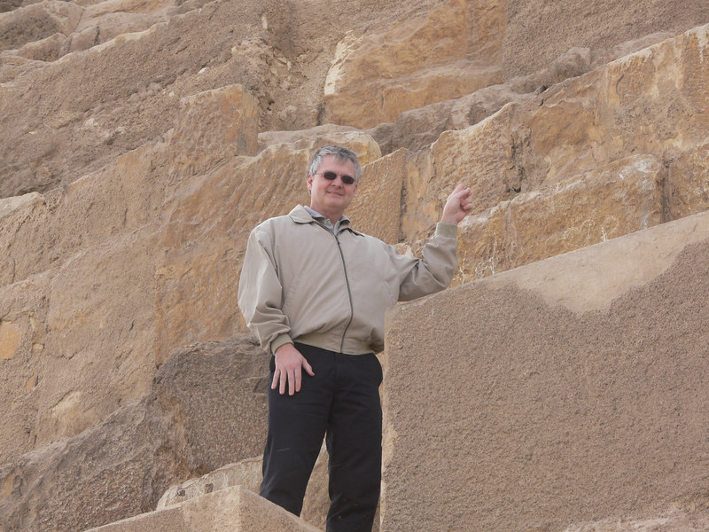 Steve next to the great pyramid of Cheops at Giza