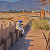 near our hotel in Sharm-el-Sheikh, Sinai, Egypt, our walk to Shark Bay - Arab with cell phone