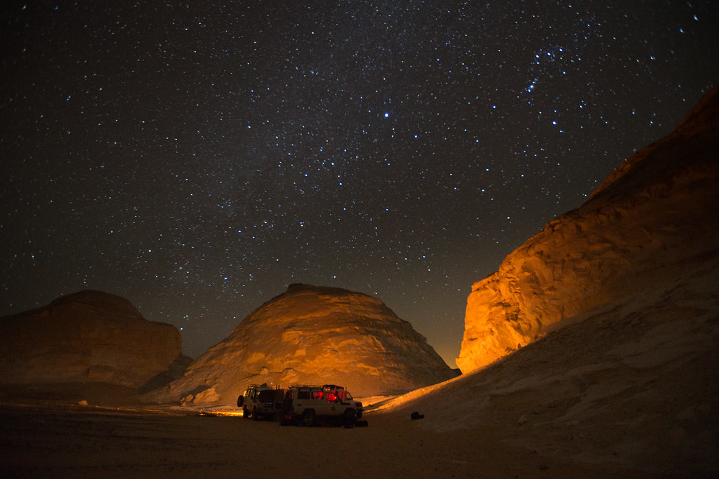 Desert camp by night