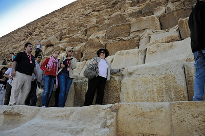 Renee Mirsky descending the Great Pyramid of Khufu.  _D7C7896