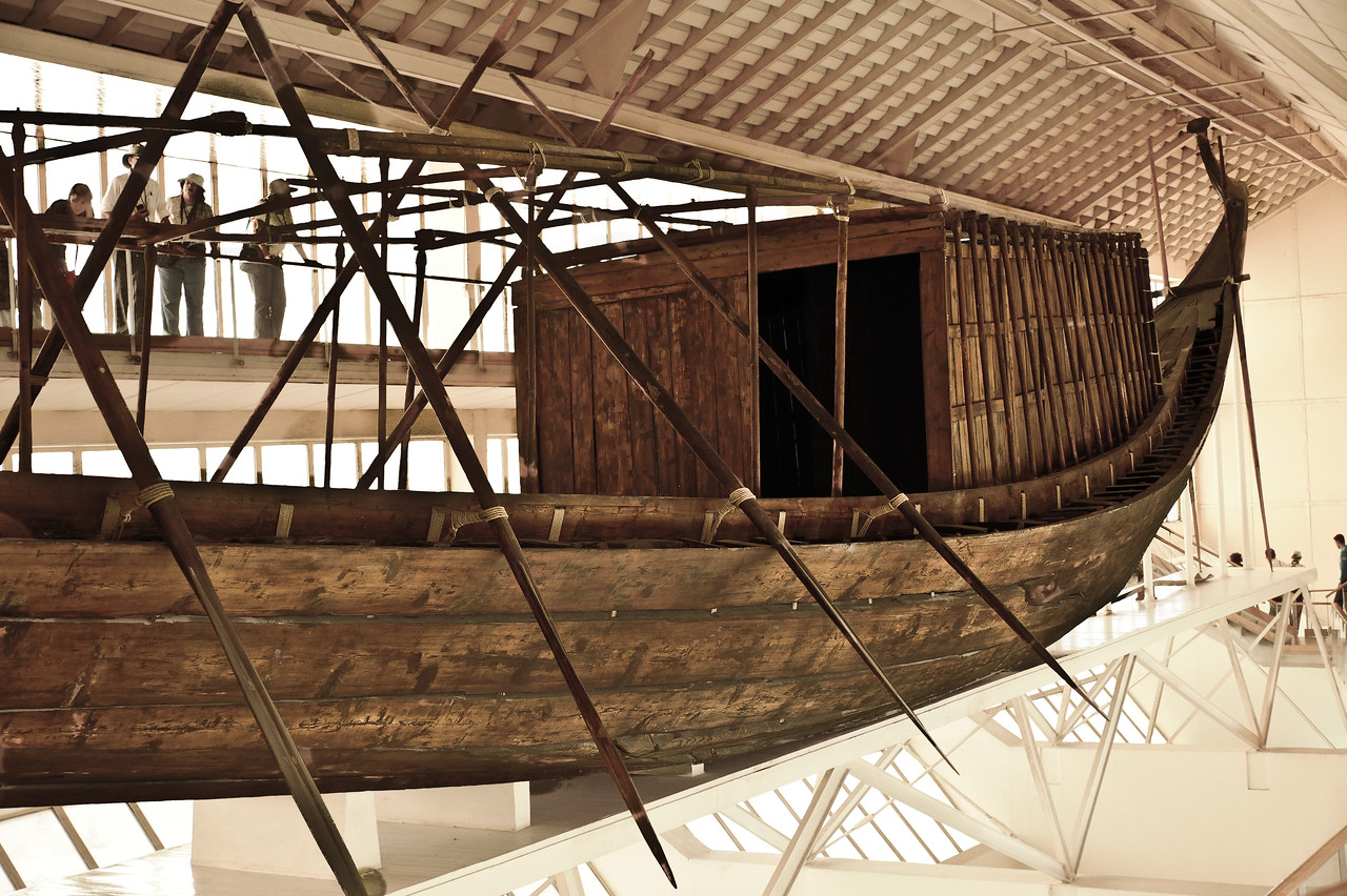 """Khufu's """"Solar Boat"""" or """"Solar Barge"""" believed to be a ritual vessel to carry the resurrected king with the sun god Ra across the heavens. 143 feet long and 19.5 feet wide."""