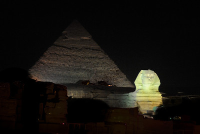 The Great Sphinx and the Pyramid of Khafre illuminated during the Sound and Light Show.