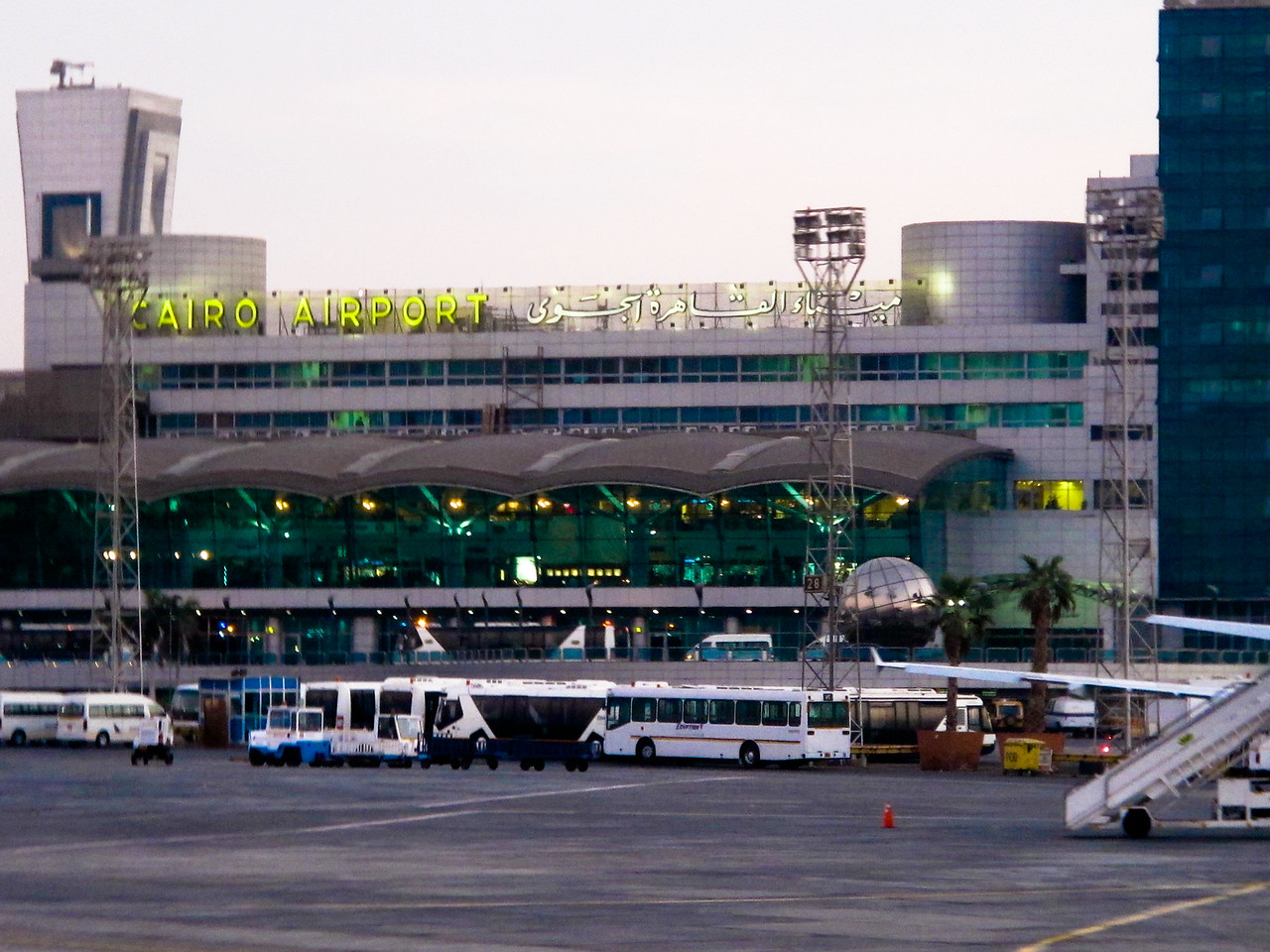 Cairo Airport upon our arrival at dusk.