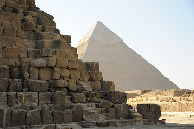 Pyramid of Khafre (son of Khufu) in background.  Great Pyramid of Khufu in foreground.
