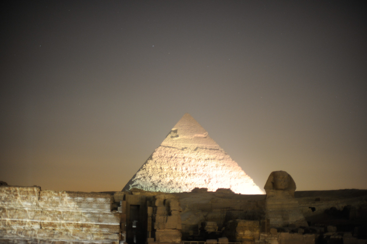 The Pyramid of Khafre illuminated during the Sound and Light Show.
