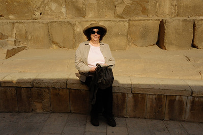 Renee Mirsky outside the Solar Boat Museum on the Giza Plateau.