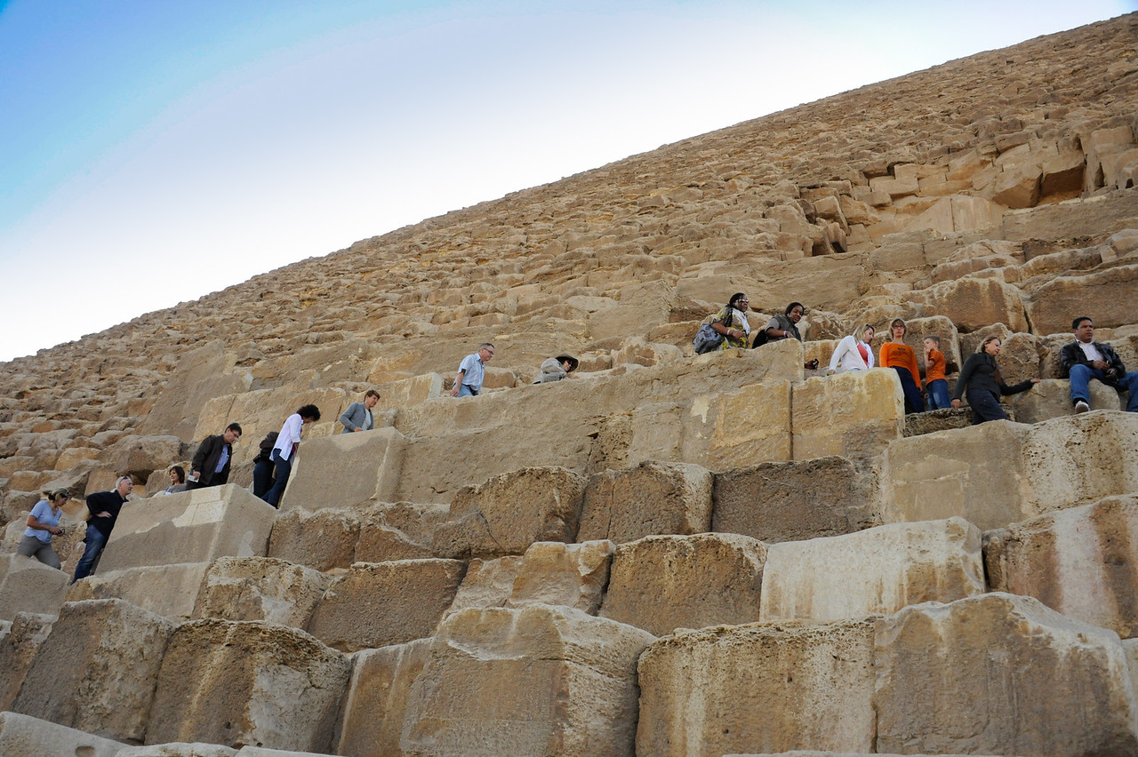 Renee Mirsky climbing the Great Pyramid of Khufu.  _D7C7875